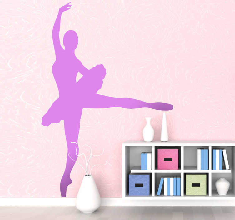 TenStickers. Ballerina Dancer Wall Sticker. A decorative monochrome sticker illustrating a ballerina dancer. Great dancer decal for those that love dancing or simple love this design!