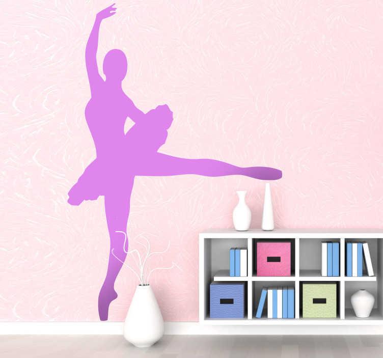 TenStickers. Sticker silhouette ballet ballerina. Een leuke muursticker met de silhouette van een mooie ballerina met een tutu. De grootte en kleur voor deze wandsticker kan u zelf bepalen.