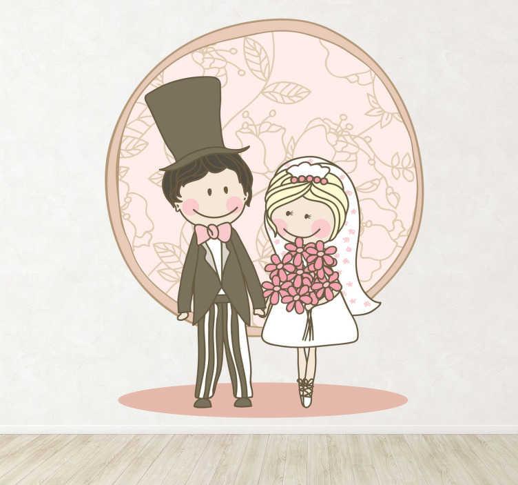 TenStickers. Brudepar tegning sticker. Bryllups sticker - Brud og gom der står hånd i hånd. Et klistermærke som vil skabe en romantisk stemning. Fås i flere størrelser.