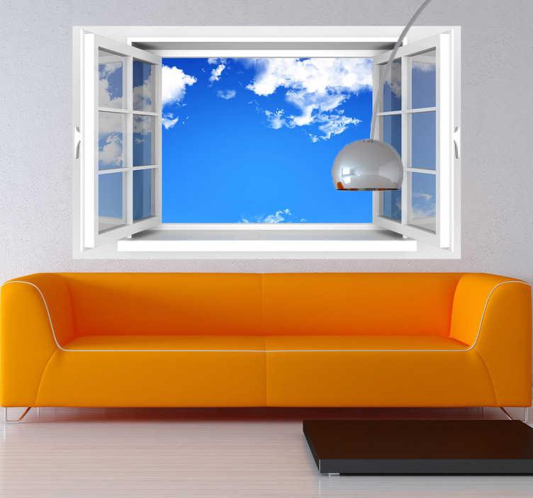 TenStickers. Vinil decorativo ventana abierta. Vinil decorativo que te dará ar. Adesivo de parede de uma janela aberta e com um céu quase limpo que trará um ar fresco à divisão.