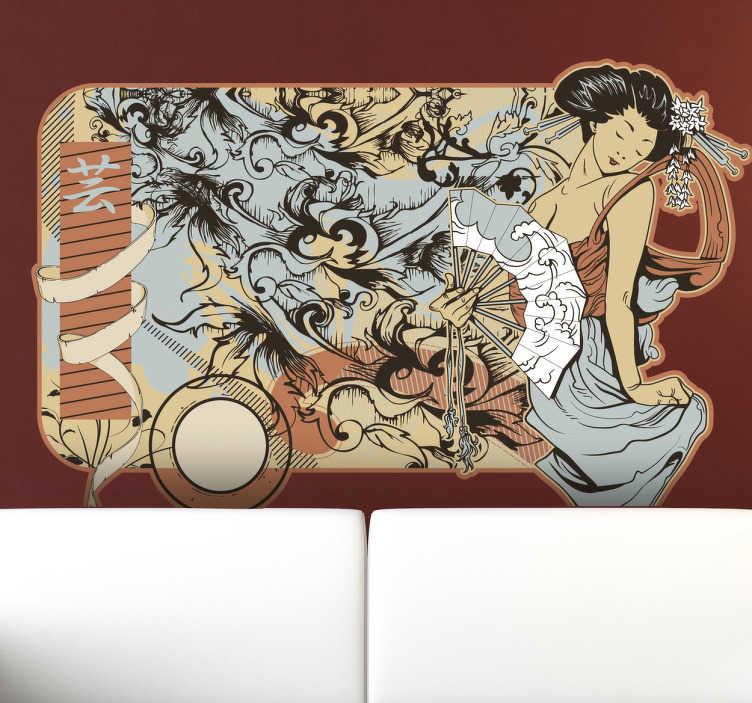 TENSTICKERS. Japanese ukiyo-eモダニズムウォールステッカー. モダンなツイストの伝統的な日本の浮世絵ステッカー。波と花のユニークなパターンの前に手のファンを持つ女性の美しく、カラフルなデザイン。この素晴らしいデザインは、あなたの家やラップトップにスタイルと優雅さを与えるのに最適です。