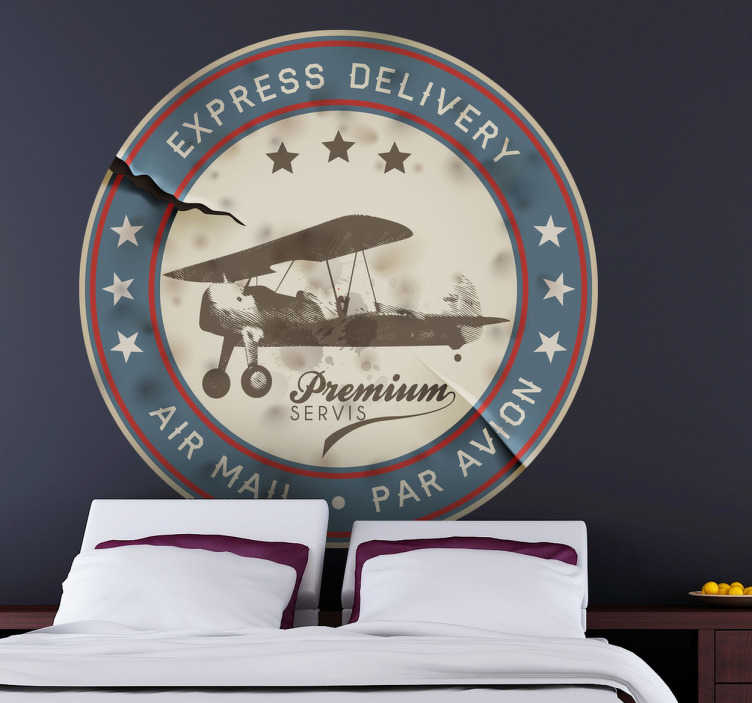 TenStickers. Vintage Airplane Air Mail Decal. A nice airplanevintage decalfrom our collection ofretro wall stickersillustrating a stamp from an air mail delivery agency Ideal for those that love vintage designs! Decorate your home and get rid of those empty spaces at home.