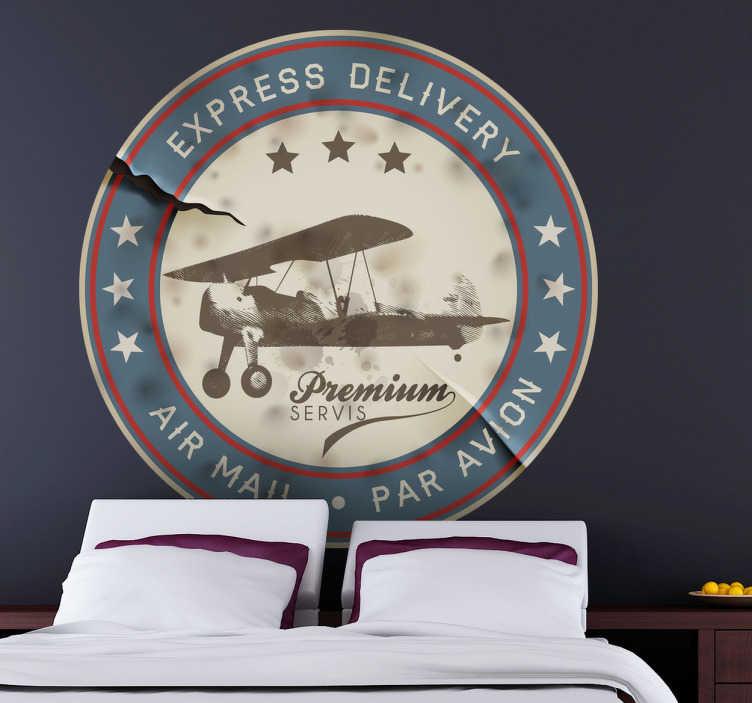 TenVinilo. Vinilo decorativo sello retro avión. Adhesivo de una etiqueta circular antigua que nos indica que el envío se ha hecho vía aérea. Una pegatina retro que decorará las paredes de tu hogar.