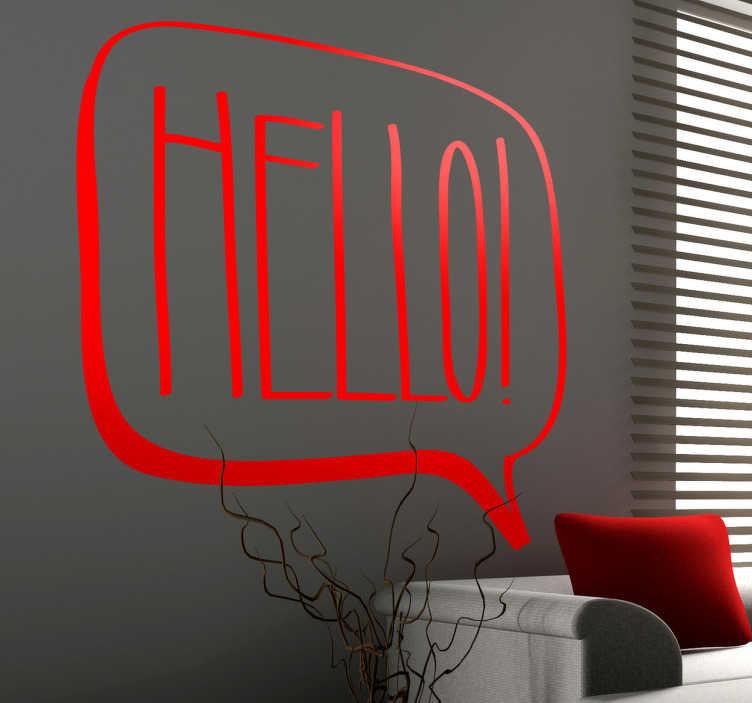 """TenStickers. Comic Hello Aufkleber. Ein Sprechblasen Wandtattoo mit dem Wort """"Hallo"""" auf Englisch im Comic-Stil - was für eine dekorative Option! 24-/48h-Express-Versand"""