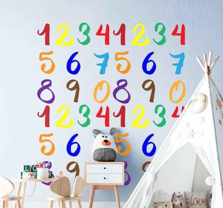 TENSTICKERS. 数字紙吹雪教育デカール. 装飾的な教育キッズウォールステッカー。 1から10までのカラフルな数字で構成されたデザイン。簡単に貼り付けられ、高品質のビニールで作られています。