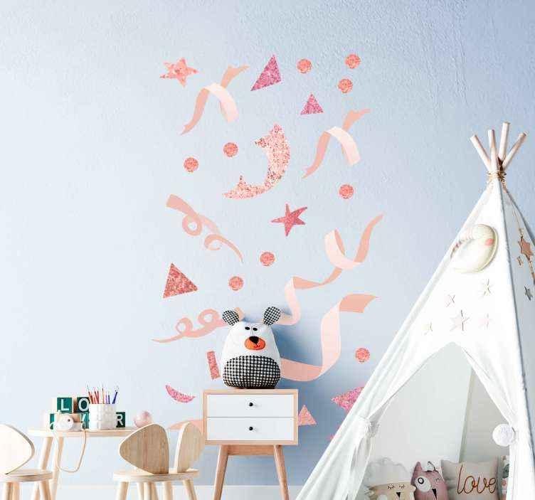 TenStickers. Sticker Mural Confettis rose clair. Autocollant de confettis de vacances de couleur rose clair pour décorer la maison et d'autres endroits pour noël, nouvel an et autres festivités.