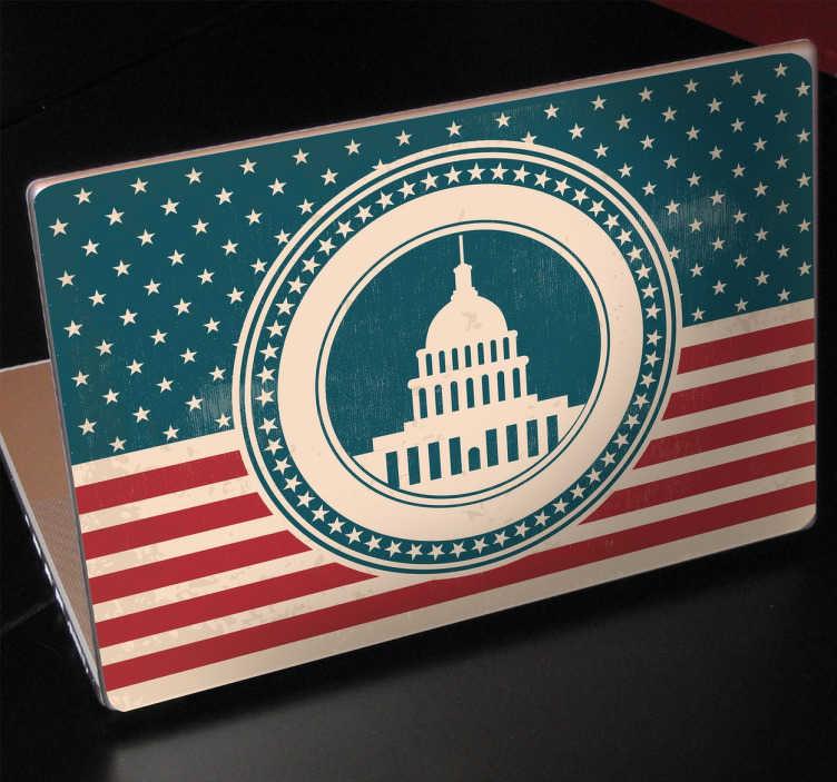 TenVinilo. Vinilo decorativo gran cúpula. Pegatinas para portátiles con una representación del Capitolio de Washington en Estados Unidos.