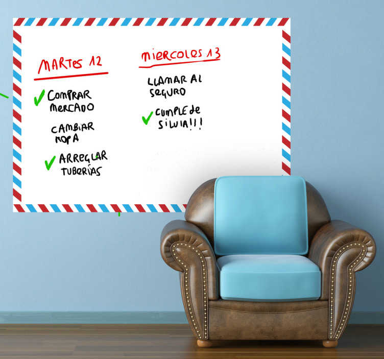 TenStickers. Autocolant whiteboard whiteboard. Tablă; design tematic prin e-mail; ideal pentru decorarea oricărei încăperi, practic și pentru desenarea și scrierea notelor. Perfect pentru orice cameră