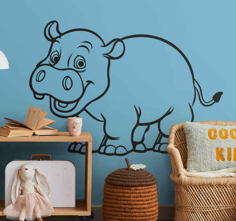 TenStickers. Monochrome Hippopotamous Kids Sticker. Playful and bubbly goofy hippo decal suitable for the nursery and kids rooms.