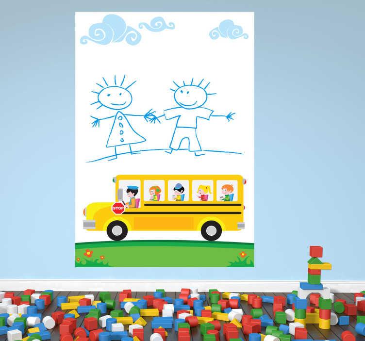 TenStickers. Autocolante infantil escolinha. Autocolante infantil com o autocarro da escola, um menino e uma menina a darem a mão.