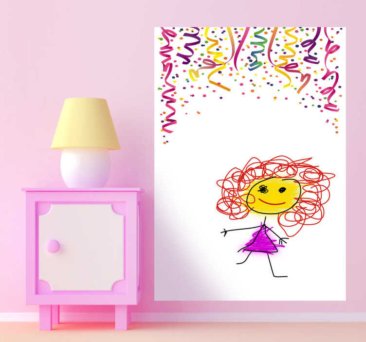 TenStickers. Whiteboard Confetti Sticker. A colourful whiteboard wall sticker to treat your kids. This kids decal is perfect to allow your children to draw and write on your wall!