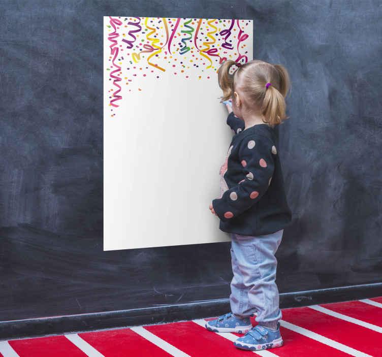 TenStickers. Konfetti Whiteboard Folie. Mit dieser Konfetti Whiteboard Folie können Sie die Wand im Kinderzimmer dekorieren. Diese Folie kann mit wasserlöslichen Markern beschriftet werden.