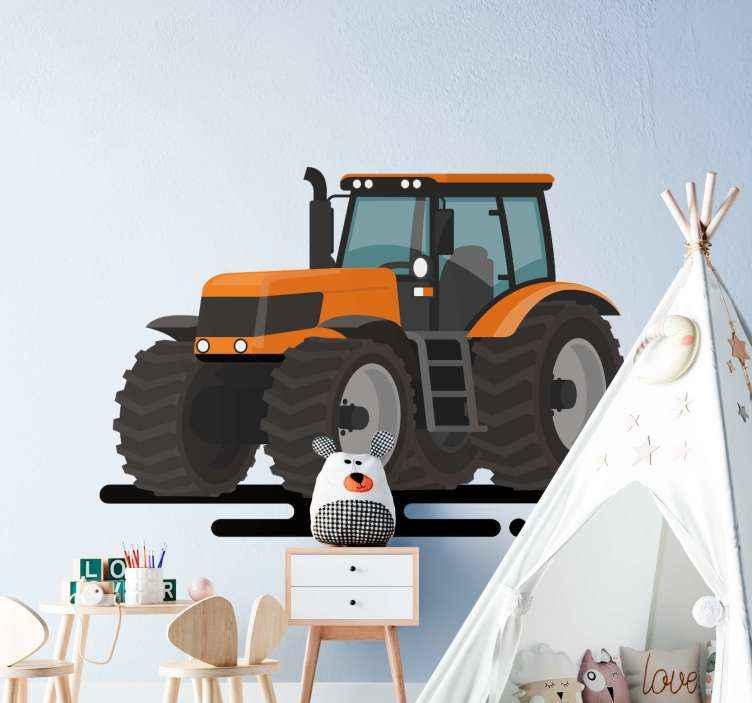 TenStickers. Stickers speelgoed Oranje tractoren. Decoratieve grote oranje tractor speelgoed vinyl zelfklevende sticker om de kamer van jongeren in een huis te versieren. Gemakkelijk aan te brengen en het is verwijderbaar zonder.