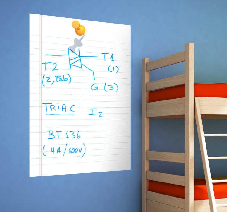 TenStickers. Autocolante folha de caderno em quadro branco. Autocolante infantil ilustrando uma folha de caderno em quadro branco, ideal para os seus filhos escreverem e desenharem à vontade!