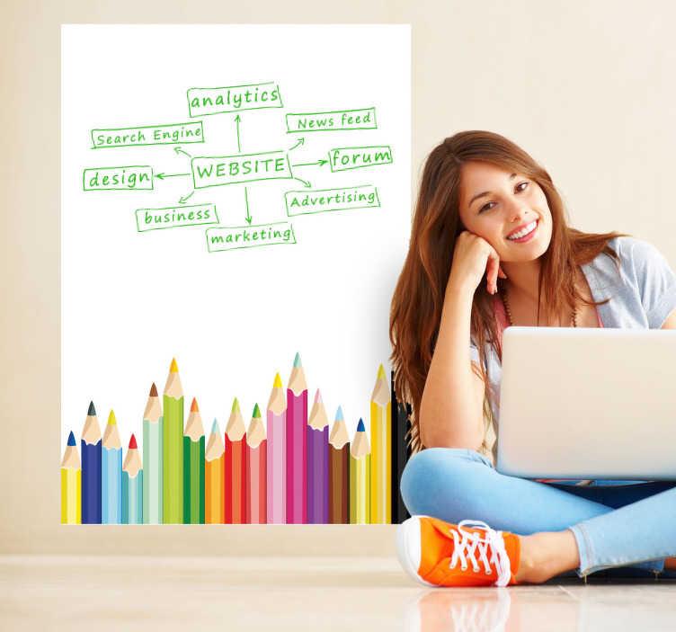 TenStickers. Sticker ardoise blanche crayons de couleur. Une collection complète de crayons de couleurs pour écrire et dessiner sur ce sticker ardoise Velleda. *Feutre offert*Nous conseillons d'appliquer le sticker sur une surface totalement lisse pour éviter les problèmes lors de l'effaçage.