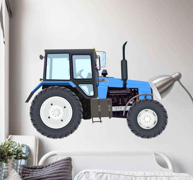 TenStickers. Autocolantes de brinquedos Trator moderno azul. Adorável autocolante trator de brinquedo moderno azul para decoração de casa. autocolante de quarto adequado para criança, especialmente para meninos. é fácil de aplicar e duradouro.