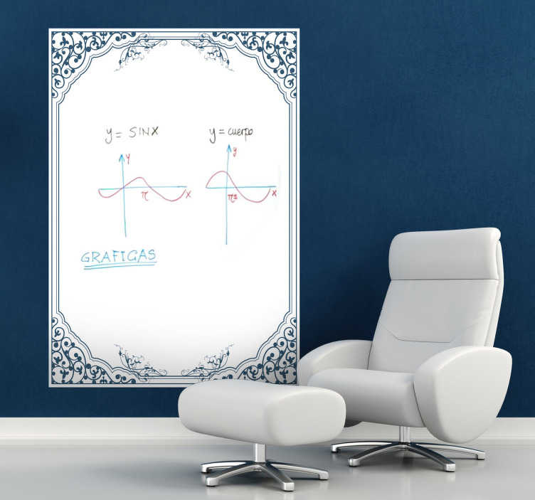 TenStickers. Classic Frame Whiteboard Sticker. Whiteboard;Elegant and classical whiteboard design;ideal for decorating any room, also practical for drawing and writing notes.
