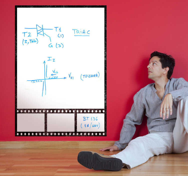 TenStickers. Film Frame Whiteboard Sticker. Whiteboard;Film frame whiteboard design;ideal for decorating any room, also practical for drawing and writing notes.