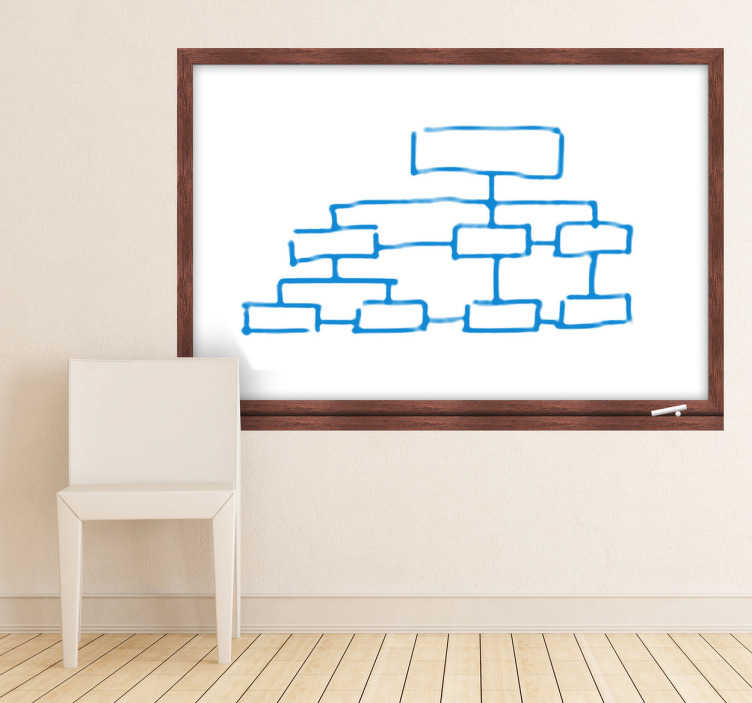 TenStickers. Wooden Frame Whiteboard Decal. A whiteboard wall sticker with a wooden frame design made for the walls in your home or office. Great whiteboard decal to practice your drawing skills! Write your notes and rub off when necessary without having to worry about damaging your wall.