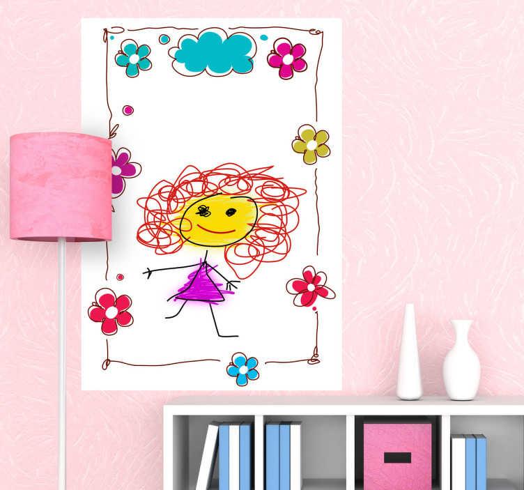 Sticker ardoise blanche cadre fleuri