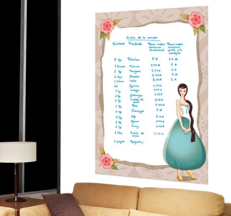 TenStickers. Romantisch meisje whiteboard sticker. Een romantische whiteboard muursticker met een mooie kader en een jonge dame in een prachtige jurk! Ook voor ramen en auto's.