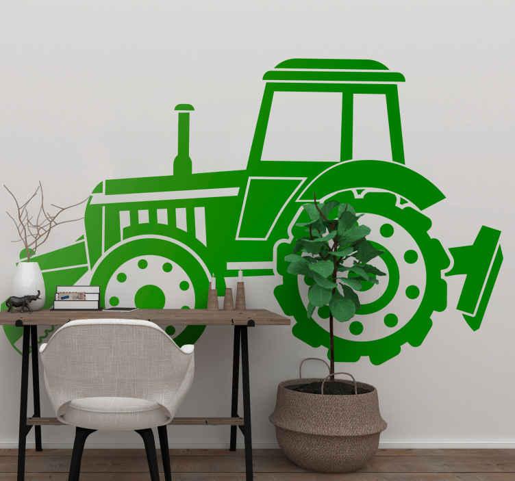 TenVinilo. Vinilo industria silueta tractor realista. Vinilo realista con silueta de tractor que será la mejor manera de decorar si te gustan los tractores ¡Descuentos disponibles!