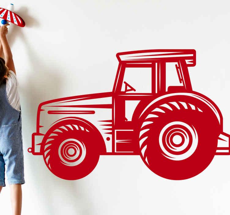 TenStickers. Sticker fabbrica Trattore agricolo dettagliato. Un fantastico adesivo dettagliato dell'industria dei trattori agricoli che farà sentire il tuo bambino come un lavoratore nella sua stanza. Iscriviti per il 10% di sconto.