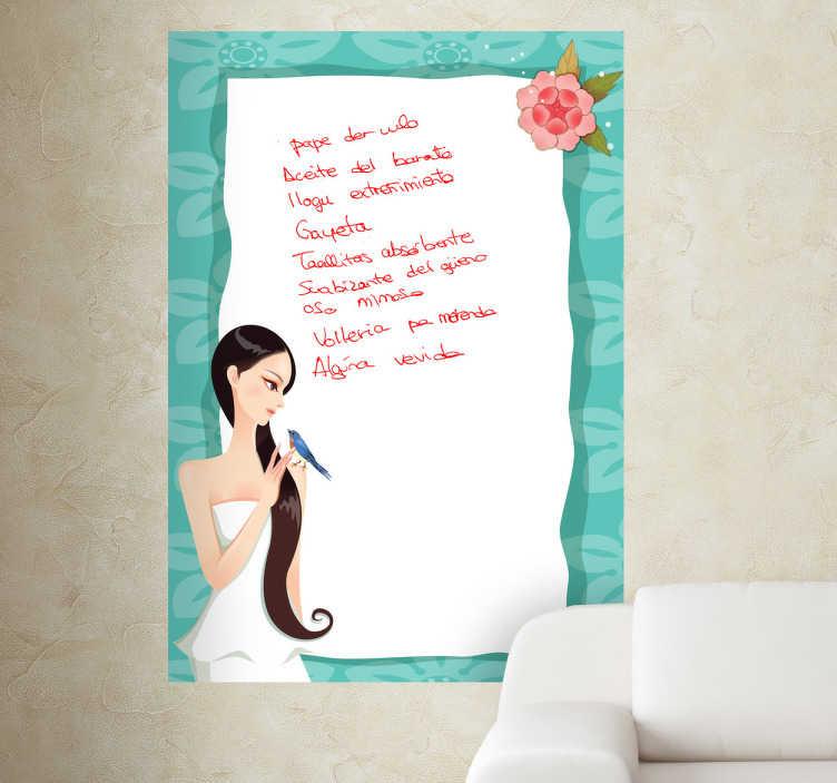TenStickers. Naklejka biała tablica subtelna ramka. Obrazek z delikatnymi zdobieniami, w formie tablicy po której możesz pisać mazakami. Ciekawa i praktyczna naklejka do Twojego domu!