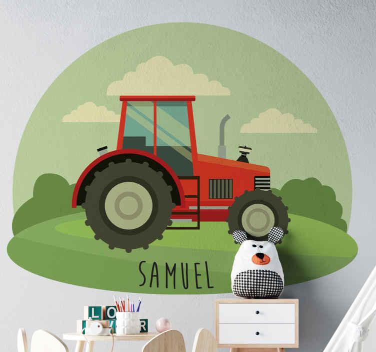 TenStickers. Autocolantes de brinquedos Nome e pequeno trator. autocolante de trator de brinquedo com nome personalizado para decorar o espaço do quarto do seu filho. É original e fácil de aplicar em superfície plana.