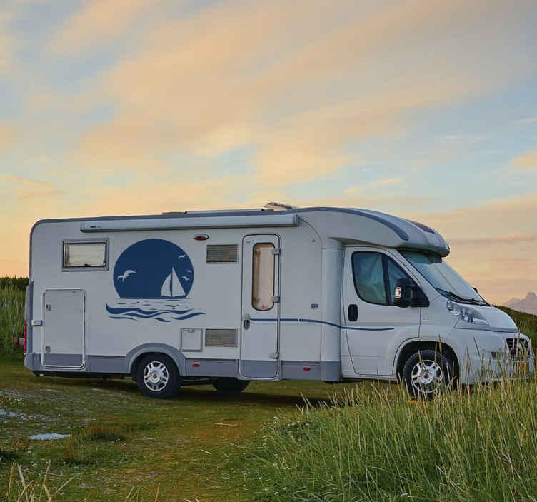 TENSTICKERS. ビーチキャンピングカー航海デカールの夕日. ビーチの航海キャラバンデカールに沈む夕日のデザイン。このデザインは、お好みの他のすべての車両に装飾することもでき、アプリケーションは簡単です。
