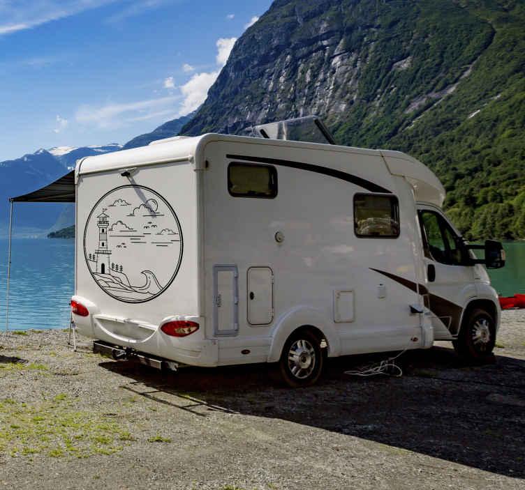 TENSTICKERS. 海岸の灯台キャンピングカー航海ステッカー. キャラバン装飾用の航海イラストステッカー。デザインには、航海オブジェクトと自然の特徴が含まれています。適用が簡単で、オリジナルで耐久性があります。