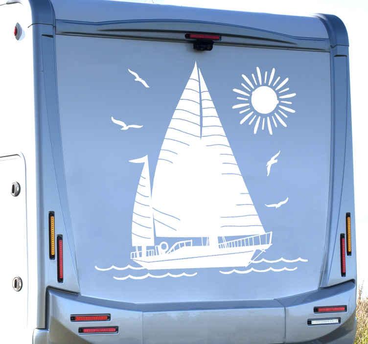 TENSTICKERS. セーリングキャンピングカー航海ステッカー. 車両用の航海用帆船デカール。このデザインは、家の壁のスペースや家具、その他の関心のある平らな面に適用できます。