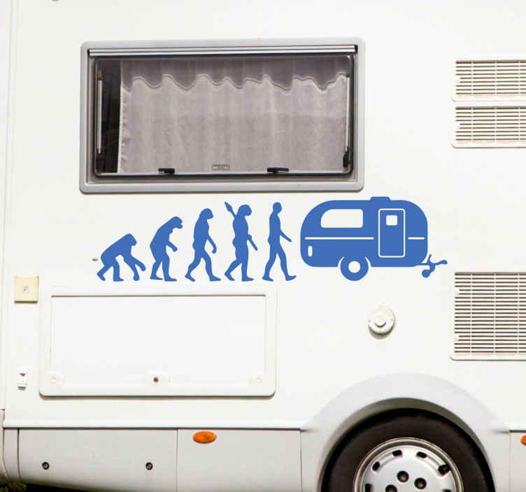 TENSTICKERS. 進化キャラバンカーデカール. キャンピングカー用の装飾的な進化のイラストデカール。デザインは、特にキャンプ用の車両や旅行用の車両に最適です。
