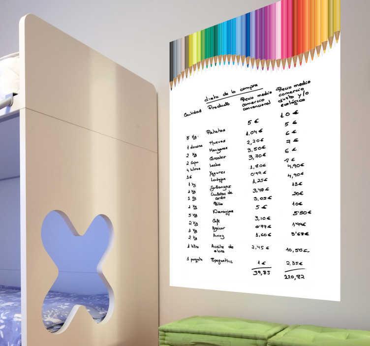 TenStickers. Naklejka tablica kolorowe ołówki. Naklejka z kategorii białe tablice na której możesz wykonywać zapiski flamastrem.