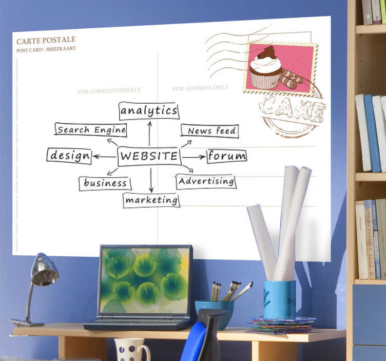 TenStickers. Postcard Whiteboard Sticker. A creative whiteboard decal with the design of a common postcard. Decorate your room and brainstorm your ideas with this wall sticker.