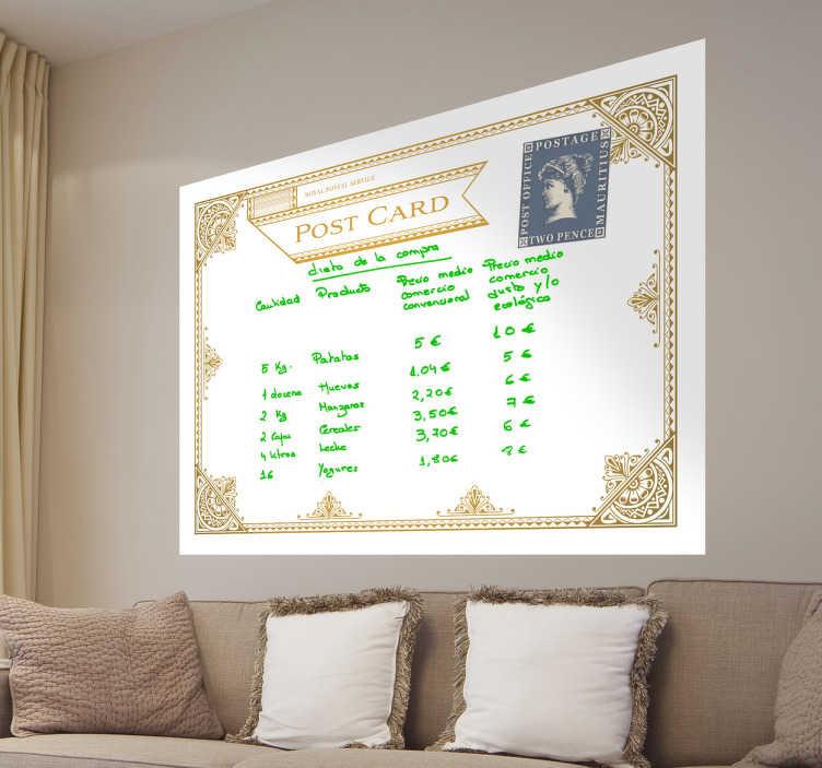 TenStickers. Postcard Whiteboard Folie. Eine alte Postkarte als Whiteboard Folie. Mit diesem besonderen Design können Sie Ihre Wand dekorieren und wichtige Notizen machen.