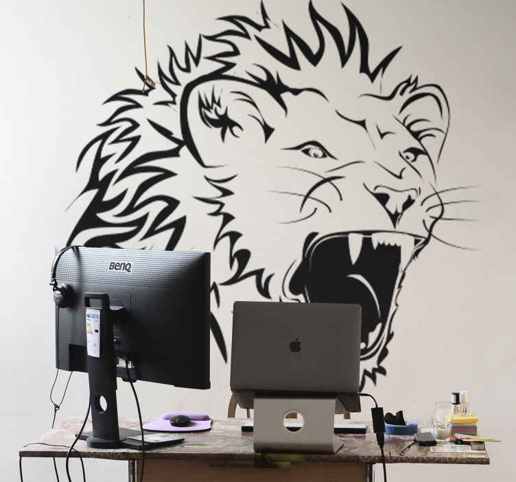 TenStickers. Naklejka na ścianę lew. Naklejka na ścianę przedstawiajaca portret groźnego lwa. Obrazek dostępny w różnych rozmiarach i w szerokiej gamie kolorystycznej.