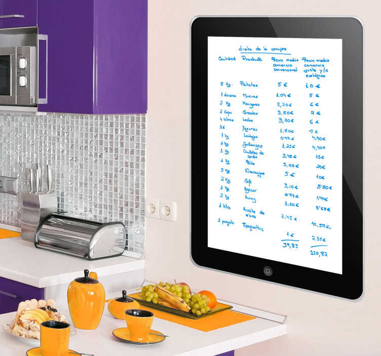TenStickers. iPad Whiteboard Sticker. Are you a big fan of Apple products? This whiteboard decal is ideal to decorate your wall and be able to write on it!