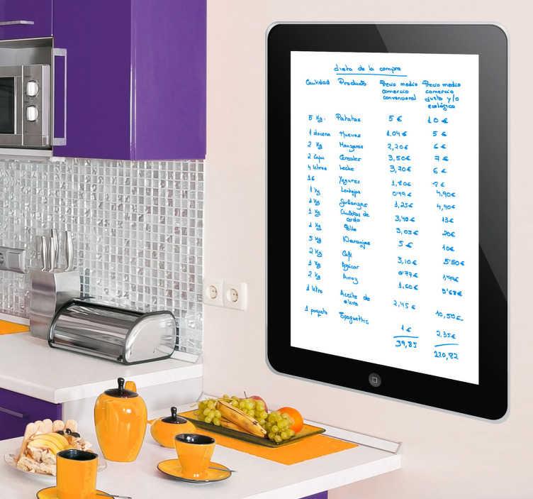 TenVinilo. Vinilo pizarra vileda tablet Ipad. Original vinilo decorativo con el diseño de un iPad para que puedas apuntar en la pared todo lo que te apetezca y borrarlo cuando quieras