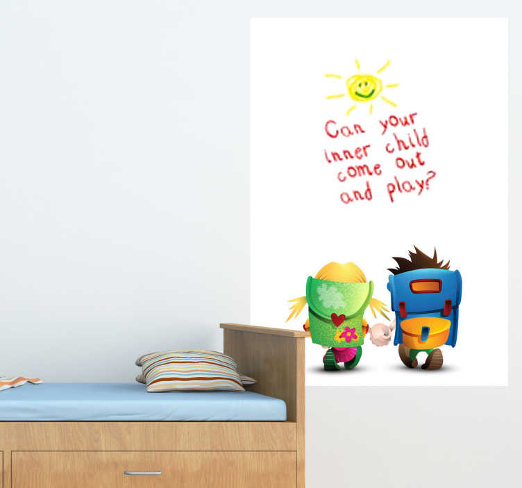 TenStickers. Kids Going To School Whiteboard Sticker. Whiteboard - Kids whiteboard design;ideal for decorating any room, also practical for drawing and writing notes.