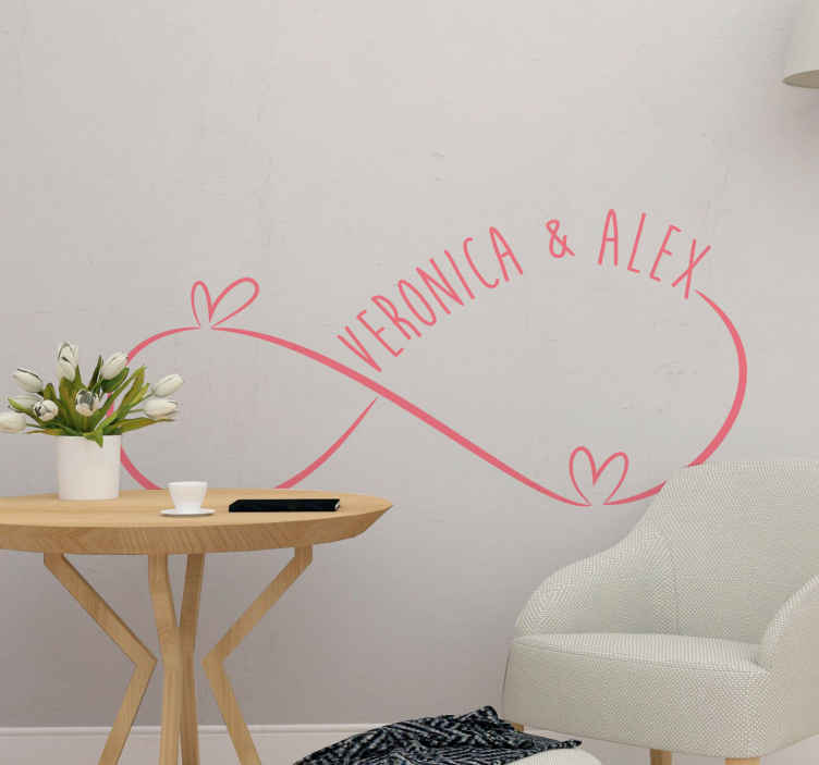 TENSTICKERS. 夫婦インフィニティブライダルデカール. 夫と妻の無限の結婚式のステッカー。結婚式場の装飾、居間、寝室、その他の選択したスペースに適しています。