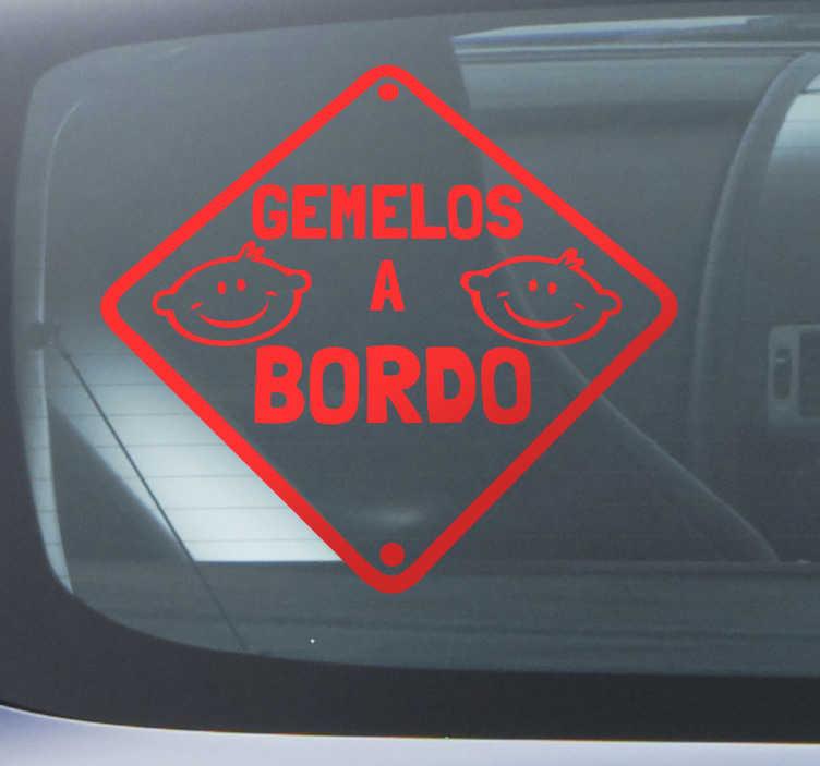 TenVinilo. Adhesivo gemelos a bordo. Si has tenido gemelos necesitarás avisar al resto de conductores que moderen la velocidad con este útil vinilo adhesivo.