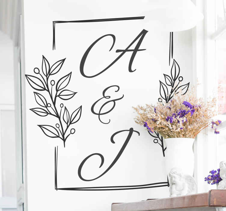 TENSTICKERS. 夫と妻のパーソナライズされたイニシャルブライダルステッカー. 私たちの装飾的なパーソナライズされた夫と妻の最初の結婚式のステッカーは、結婚式の会場と家のカップルの寝室に飾ることができます。