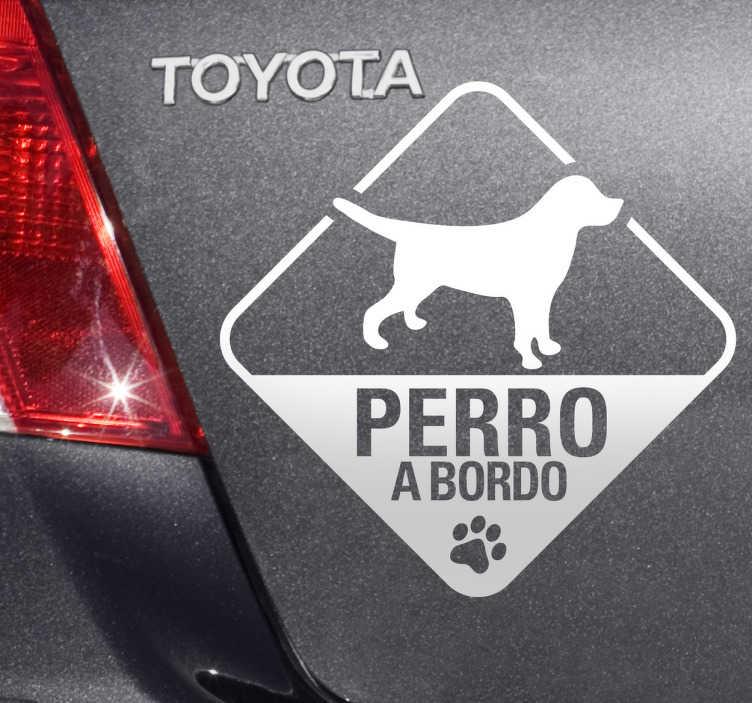TenVinilo. Adhesivo perro a bordo linea. Señaliza con este vinilo que en tu vehículo viaja tu mascota.*Si quieres colocarlo por la parte interior de un cristal selecciona orientación invertida.