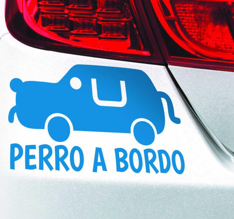 TenVinilo. Adhesivo perro en el coche. Divertida pegatina para avisar a los otros vehículos que viaja tu mascota en tu automóvil.