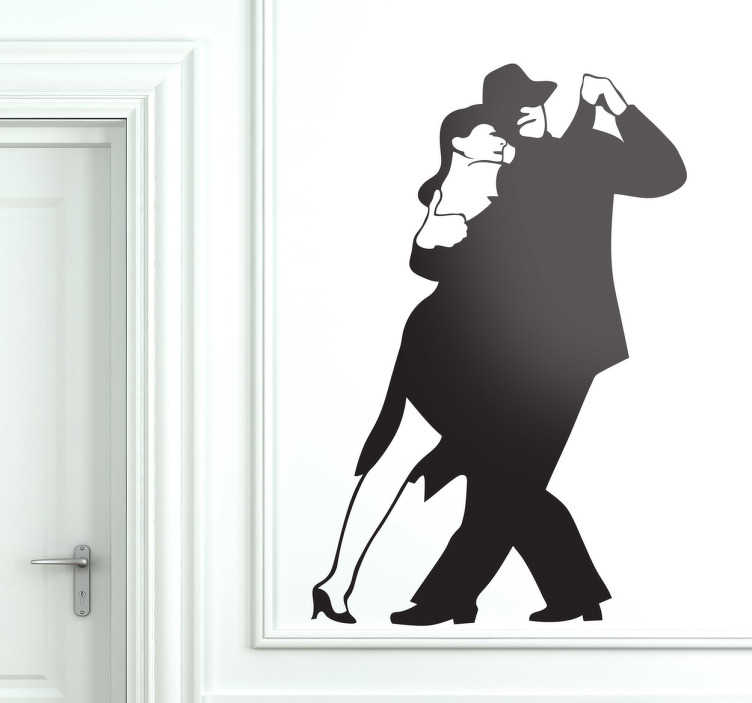 TenStickers. Tango Couple Dancing Wall Sticker. A great dance decal illustrating a couple dancing tango. If you are a tango lover then this monochrome sticker is perfect to decorate your home!