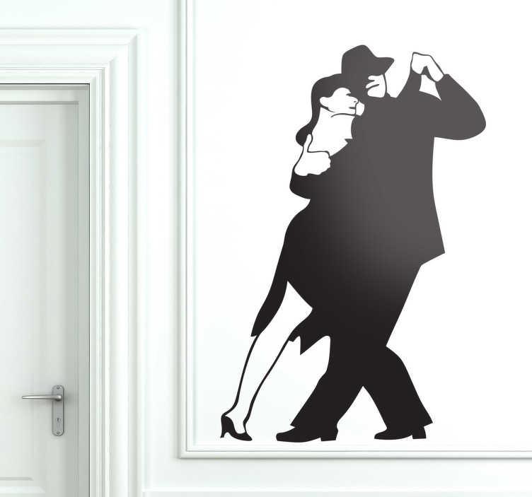 TenStickers. Sticker koppel tango dansers. Muursticker van een koppel dat de tango danst. Mooie wanddecoratie voor mensen die van deze Argentijnse dans houden.