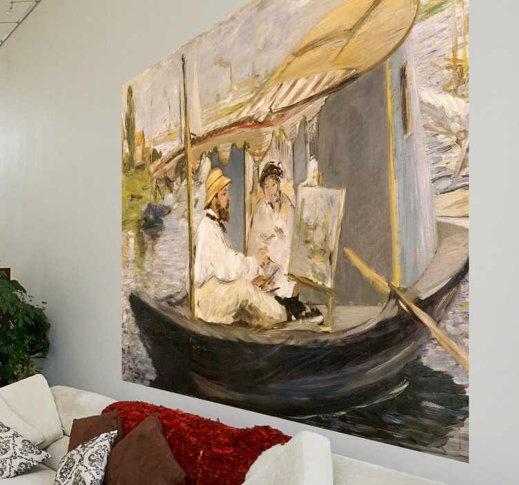 TenStickers. Sticker schilderij Manet. Muursticker met de reproductie van het bekende schilderij door Edouard Manet uit 1874. Op het schilderij zie je Claude Monet aan het werk op een boot.