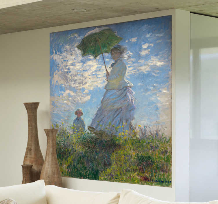 """TenStickers. Claude Monet Umbrella Art Sticker. A beautiful wall decal illustrating the famous painting """"Woman with Umbrella"""" by Claude Monet. Are you a fan of this French painter?"""