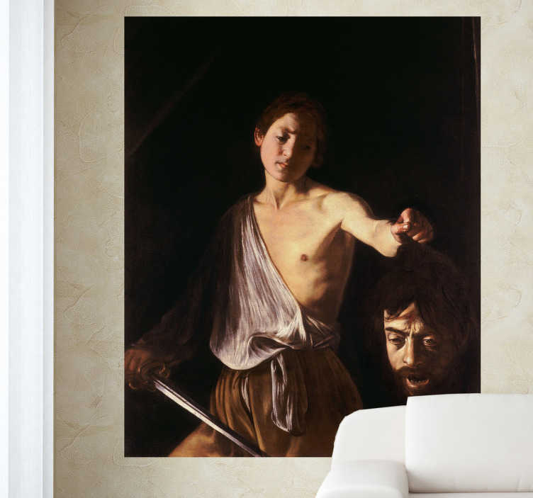 "TenStickers. David and Goliath Vinyl Wall Stickers Decor. Decorative wall sticker which represents a picture of the Italian Baroque painter Caravaggio titled "" David with the Head of Goliath ."""